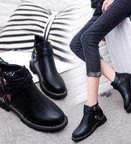 Sepatu Boot Pendek Hitam Teplek