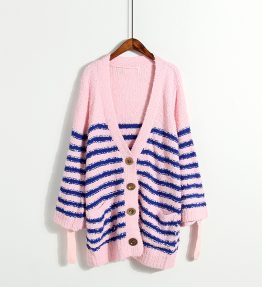 Sweater Kardigan Rajut Gris Biru