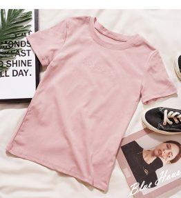 Baju Lengan Pendek Pink Bahan Mulur