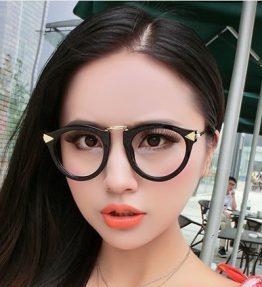 Kacamata Kaca Bening Bulat Fashion Gagang Gold
