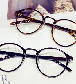 Kacamata Bulat Retro Kaca Bening