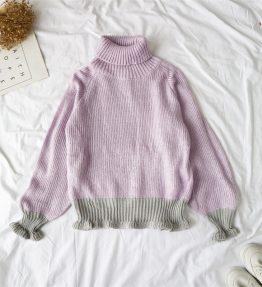 Baju Sweater Leher Tinggi Ungu Muda