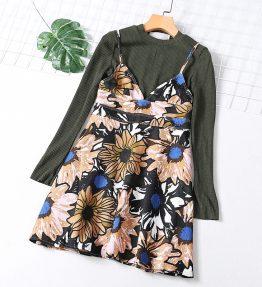 Dress Rok dan Baju Lengan Panjang Set