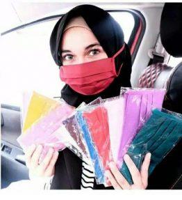 Masker Kain Oxford Polos Warna / Masker Kain Hijab Tali