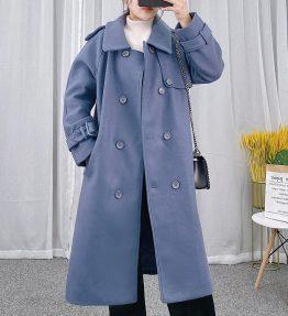 Jaket Mantel Tebal Panjang Berkancing Biru Laut