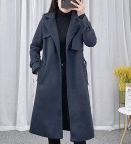 Jaket Mantel Panjang Biru Navy Gelap