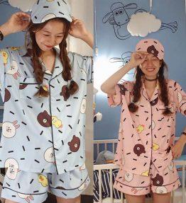 Baju Tidur Bahan Adem Gambar Line Beruang Coklat