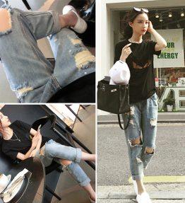 Celana Jeans Model Robek Bolong Wanita