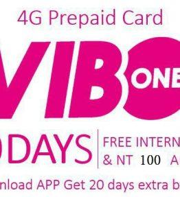 SIM Kartu Telepon VIBO 4G Free 50Hari Internet + 200NT