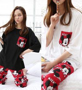 Baju Tidur Wanita Dewasa Mickey Mouse Lengan Pendek Celana Tanggung