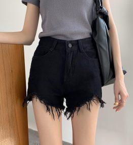 Celana Jeans Hitam Pendek Wanita Modis (45-55KG)
