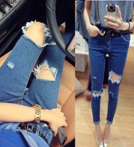 Celana Jeans Biru Tua Wanita Ketat Pensil Model Sobek