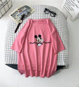 Kaos Gombrong Mickey Pink Ukuran L