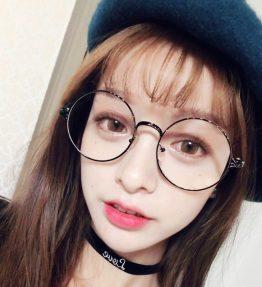 Kacamata Fashion Kaca Bening Bulat
