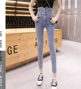CJPA0002 Celana Jeans Wanita Pinggang Tinggi Model Pensil
