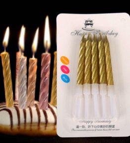 10 Batang Lilin Ulang Tahun Spiral Gold / Silver
