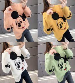 Baju Sweater Rajut Lengan Panjang Gambar Mickey